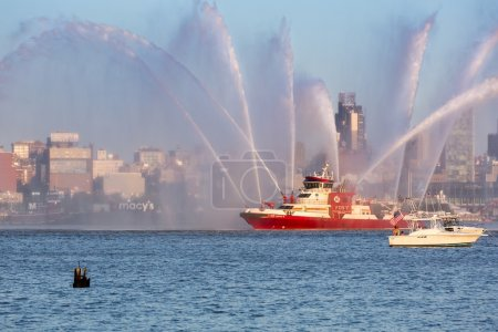 Fire-boat parading