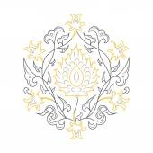 03 Floral pattern lineart yellow