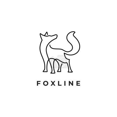 Illustration pour Illustration de renard sauvage dans une ligne art animal logo personnages inspirations - image libre de droit