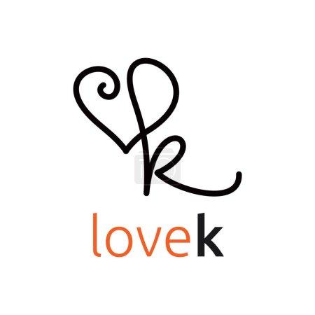 Illustration pour Illustration Lettre K inspirations de conception de logo avec tourbillon de coeur ou ornement - image libre de droit