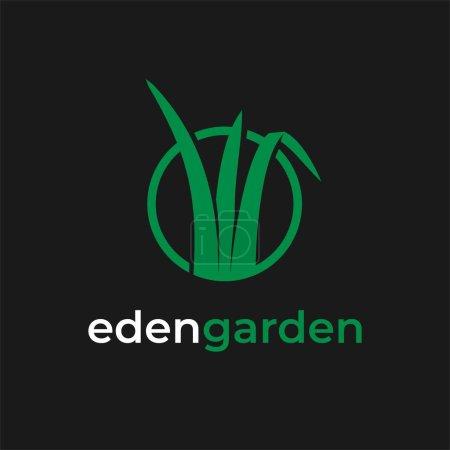 Illustration pour Illustration pelouse entretien jardin logo design inspirations - image libre de droit