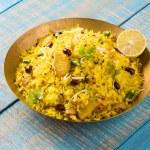 Poha or aalu poha or pohe made up of beaten rice o...