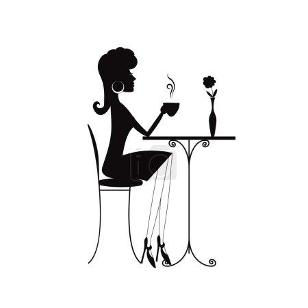 Illustration pour Silhouette noire d'une femme avec une tasse de café ou de thé - image libre de droit