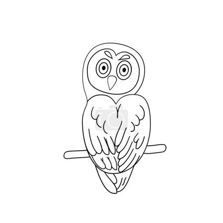 Illustration pour Chouette pour le contour du livre à colorier - image libre de droit