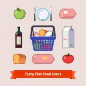 Bag full of groceries and tasty food flat style icon set Simple to work with and customizable isolated illustration elements Package contains eps10 vector file and 16 megapixel maximum quality jpg