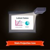Business presentation on a widescreen with projector light concept Simple to work with and customizable isolated illustration elements Package: eps10 vector file and 16 megapixel max quality jpg