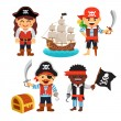 Pirate kids rascals, girls and boys, in hats and b...