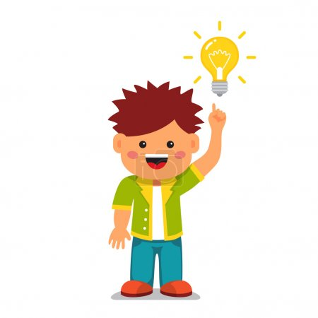 Illustration for Smart kid having a bright idea. Holding index finger up and pointing to a glowing light bulb. Flat style vector cartoon illustration isolated on white background. - Royalty Free Image