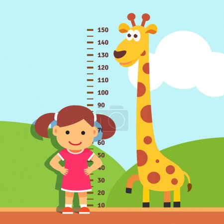 Girl kid measuring his height at kindergarten wall