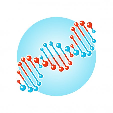DNA double spiral symbol, deoxyribonucleic acid