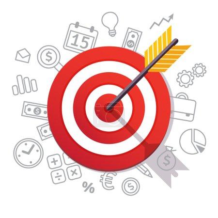 Arrow hits target center. Business success concept