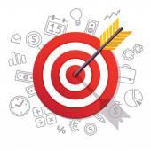Arrow hits target center Business success concept