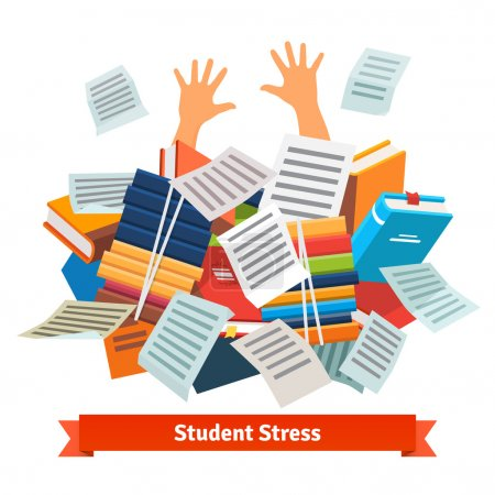 Illustration for Student stress. Studying pupil buried under a pile of books, textbooks and papers. Flat style vector illustration isolated on white background. - Royalty Free Image
