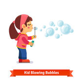 Cute little girl blowing soap bubbles through wand and holding bottle with solution in other hand Flat style vector cartoon illustration isolated on white background