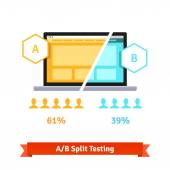 AB split testing Laptop screen showing two versions of a webpage with different statistical distribution of positive feedback Flat style vector illustration isolated on white background