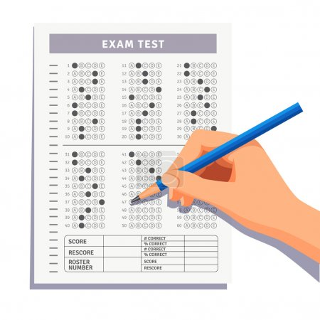 Illustration for Student filling out answers to exam test answer sheet with pencil. Flat style vector illustration isolated on white background. - Royalty Free Image