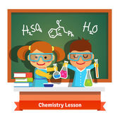 Kids having fun at chemistry lesson making experiment at the desk and chalkboard with formulas Flat style cartoon vector illustration isolated on white background