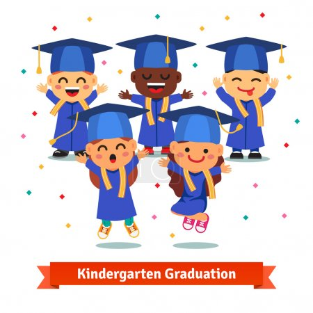 Illustration for Kindergarten graduation party. Kids in mortar boards and gowns jumping and having fun. Flat style cartoon vector illustration isolated on white background. - Royalty Free Image