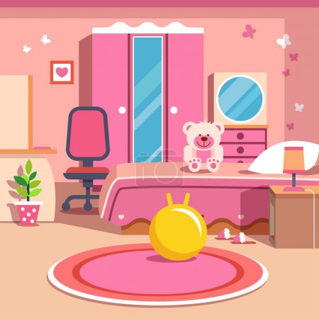 Illustration for Girls all pink bedroom interior. Flat style cartoon vector illustration with isolated objects. - Royalty Free Image