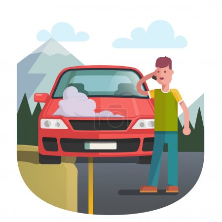 Man on a roadside standing near broken car