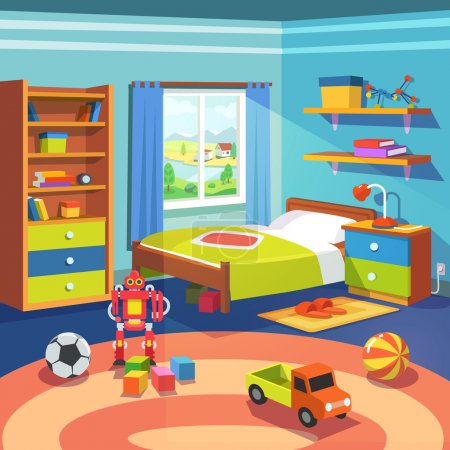 Illustration for Boy room with big window suffused with light. With bed, cupboard, shelves, and toys on the floor. Flat style cartoon vector illustration. - Royalty Free Image