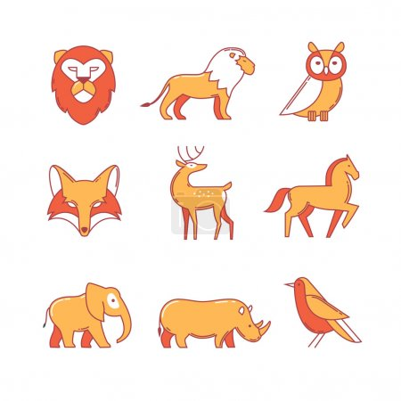 Popular wild life animals thin line icons set. Mod...