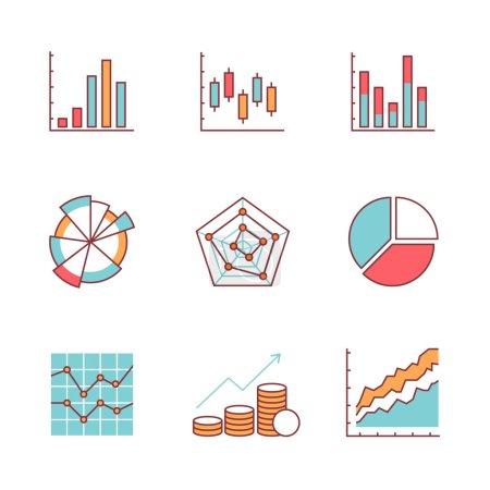 Illustration pour Graphiques d'affaires et icônes de données ligne mince ensemble. Symboles vectoriels de couleur de style plat isolés sur blanc . - image libre de droit