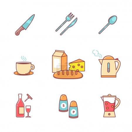 Photo pour Icônes de nourriture et de boisson ligne mince ensemble. Symboles vectoriels de couleur de style plat isolés sur blanc . - image libre de droit
