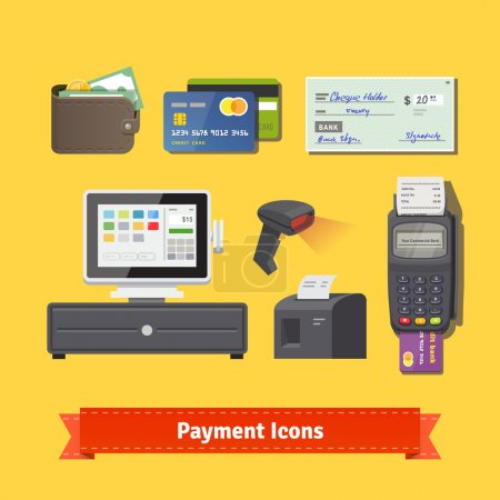 Illustration for Payment flat icon set. All for business payments: POS terminal with barcode scanner and receipt printer, wallet, credit cards and check.  vector. - Royalty Free Image