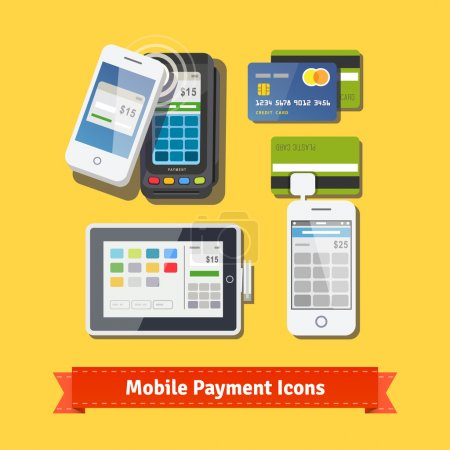 Illustration for Mobile business payment flat icon set. Wireless POS terminal scanning NFC mobile phone payment. Accepting credit cards with tablet and phone adapters.  vector. - Royalty Free Image