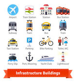 Infrastructure buildings flat icon set