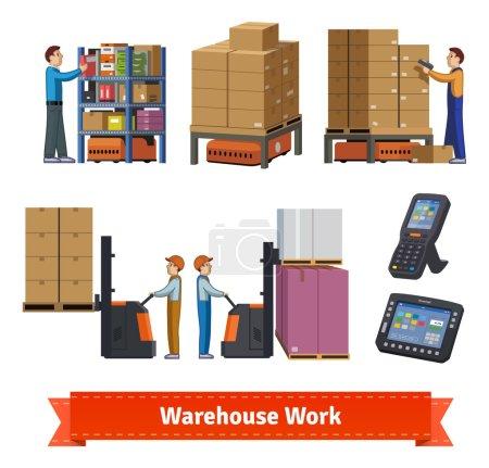 Warehouse operations Flat icon illustration