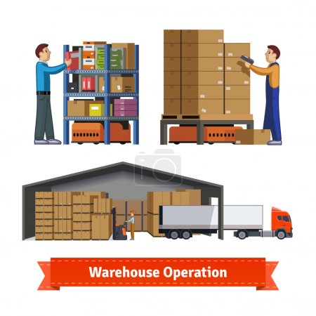 Illustration for Human and robotic warehouse operations. Warehouse workers. Flat icon illustrations set.  vector. - Royalty Free Image