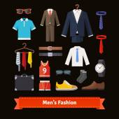 Men's fashion colourful flat icon set Apparel suits shirts shoes and accessories Retail store assortment  vector
