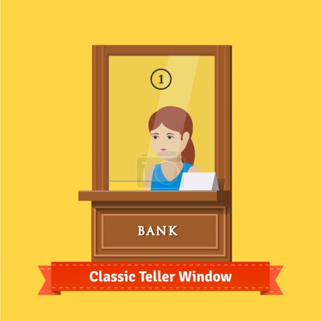 Classic bank teller window with clerk