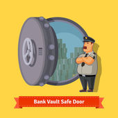 Bank vault room with officer guard