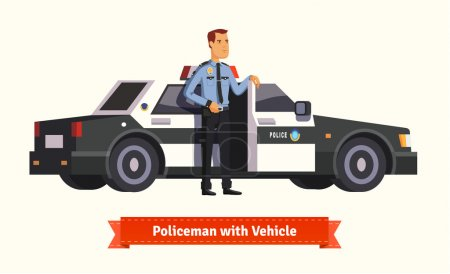 Illustration for Policeman standing in front of his car. Opened with money inside. Flat style illustration. EPS 10 vector. - Royalty Free Image