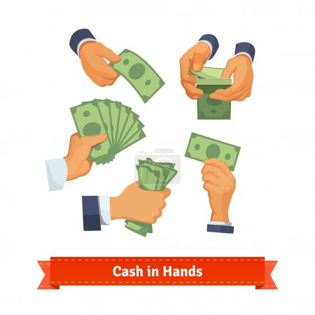 Illustration for Hand poses counting, giving, taking, squeezing and showing green cash. Flat style illustration. - Royalty Free Image
