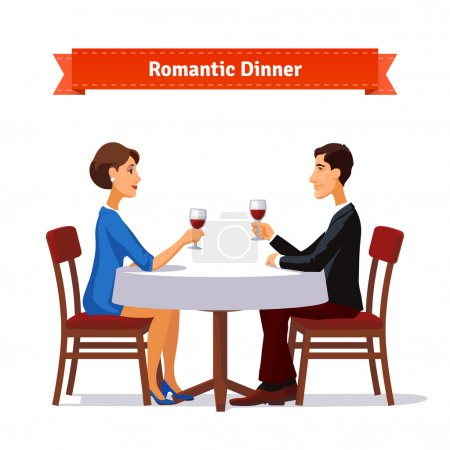 Illustration for Romantic dinner for two. Man and woman holding glasses of whine. Table with white cloth and two chairs. Flat style illustration. EPS 10 vector. - Royalty Free Image
