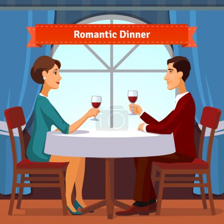 Illustration for Romantic dinner for two. Man and woman sitting by the window holding glasses of red whine. Table with white cloth and two chairs. Flat style illustration. EPS 10 vector. - Royalty Free Image