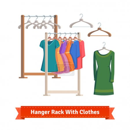 Clothes racks with dresses on hangers