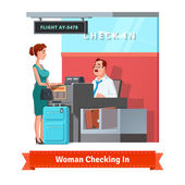 Woman with baggage checking in at the airport with airlines clerk Flat style illustration or icon EPS 10 vector