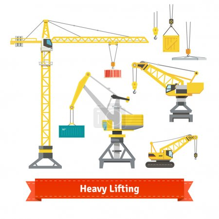 Set of cranes doing heavy lifting