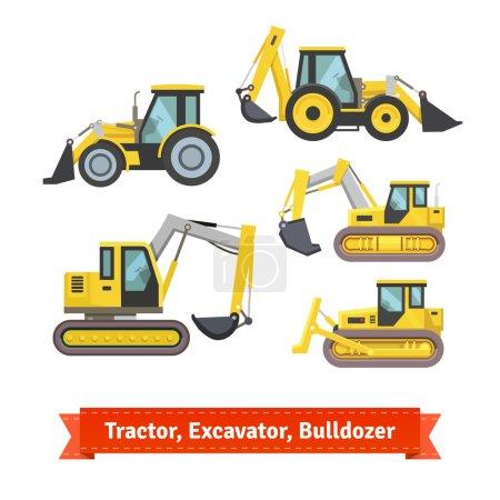 Tractor, excavator, bulldozer set. Wheeled and con...