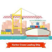 Container cargo ship loaded