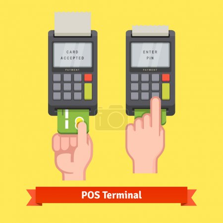 Illustration for Hand inserting credit card to a POS terminal, entering pin code and printing receipt. Flat style vector icon. - Royalty Free Image