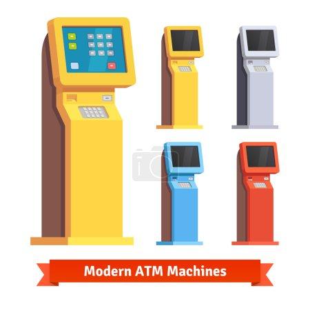 Illustration for Modern teller ATM machine. Flat style vector illustration. - Royalty Free Image