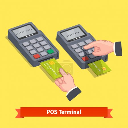 Illustration for Hand inserting credit card to a POS terminal, entering pin code and printing receipt. Flat style isometric vector icon. - Royalty Free Image