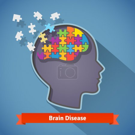 Illustration for Alzheimer brain disease, shattering human brain, memory loss and mental problems concept. Flat style icon. - Royalty Free Image