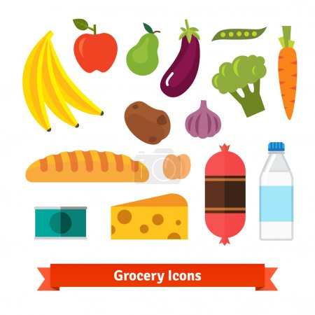 Illustration for Classic vegetables, fruits and groceries flat vector icon set - Royalty Free Image